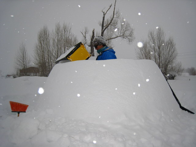 Peggy working on igloo layer four